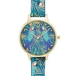Red Herring - Ladies' multi-coloured parrot print analogue watch