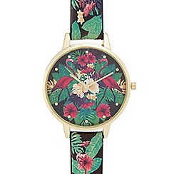 Red Herring - Ladies' multi-coloured floral print analogue watch