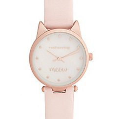 Red Herring - Ladies' pink cat analogue watch