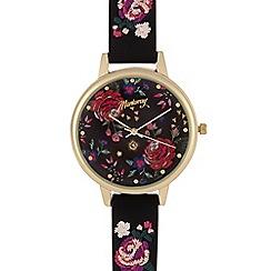 Mantaray - Ladies black embroidered strap watch