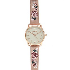 Mantaray - Pink embroidered analogue watch