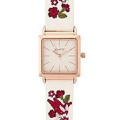 Mantaray - Ladies white embroidered strap watch