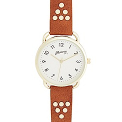 Mantaray - Ladies' tan studded strap watch