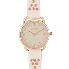 Mantaray - Ladies white studded strap watch