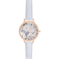 Mantaray - Ladies silver floral print analogue watch