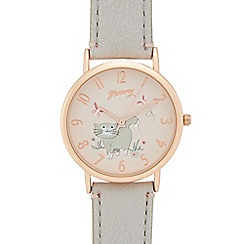 Mantaray - Ladies' grey cat print analogue watch