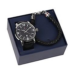 Tommy Hilfiger - Men's black watch and bracelet gift set