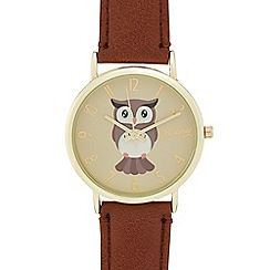 Mantaray - Ladies' tan owl print analogue watch
