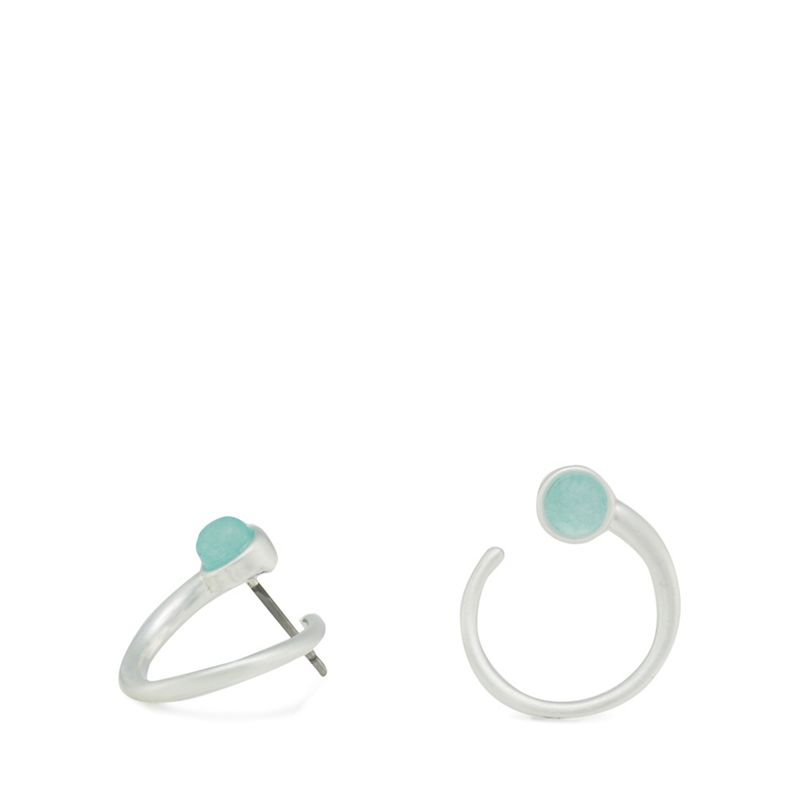 Pilgrim - Silver-Plated Circle Amazonite Stone Stud Earrings