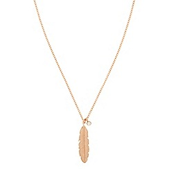 Pilgrim - Rose gold feather necklace
