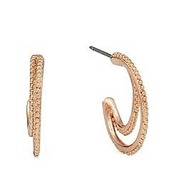 Pilgrim - Rose gold-plated double hoop earrings