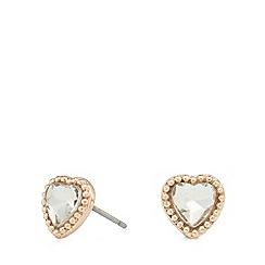 Pilgrim - Gold-plated heart stone stud earrings