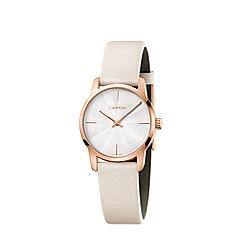 Calvin Klein - Ladies cream 'City' analogue leather strap watch K2G236X6
