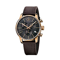 Calvin Klein - Men's brown 'City' chronograph leather strap watch K2G276G3
