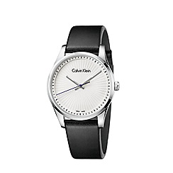 Calvin Klein - Men's black 'Steadfast' analogue leather strap watch K8S211C6