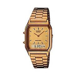 Casio - Unisex gold rectangular dial bracelet watch aq-230ga-9dmqye