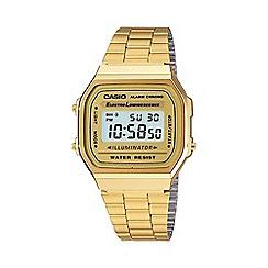 Casio - Unisex gold square dial digital watch a168wg-9ef