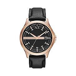 Armani Exchange - Men's rose gold case black leather strap watch ax2129
