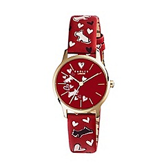 Radley - Ladies red 'Love Me, Love My Dog' blazer leather strap watch RY2474