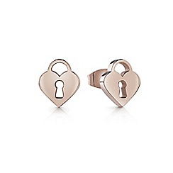 Guess - Rose gold plated 'Youth Tonic' padlock stud earrings