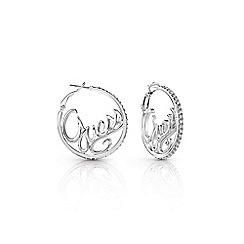 Guess - Rhodium plated 'Authentic' Swarovski logo hoop earrings