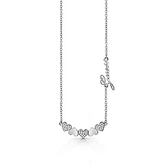 Guess - Rhodium plated 'Heart Bouquet' Swarovski pave and plain heart row necklace