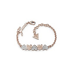 Guess - Rose gold plated 'Heart Bouquet' Swarovski pave and plain heart bow bracelet