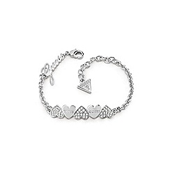 Guess - Rhodium plated 'Heart Bouquet' Swarovski pave and plain heart bow bracelet