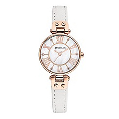 Anne Klein - Ladies white 'Jane' analogue leather strap watch AK/N2718RGWT