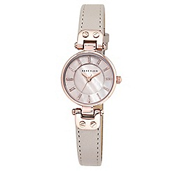 Anne Klein - Ladies grey Mother of Pearl 'LYNN' analogue leather strap watch AK/N1950RGTP