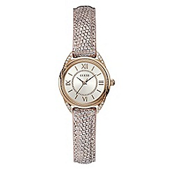 Guess - Ladies rose gold small analogue leather strap watch