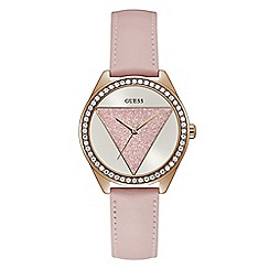 Guess - Ladies rose gold analogue leather strap watch
