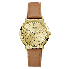 Guess - Ladies brown leather strap watch