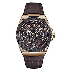 Guess - Men's brown leather strap watch