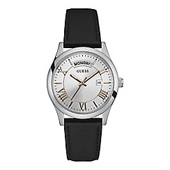 Guess - Men's black leather strap watch