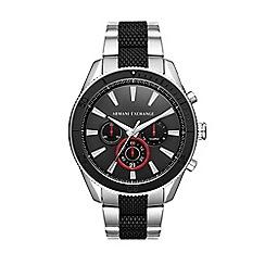 Armani Exchange - Men's silver and black chronograph bracelet watch