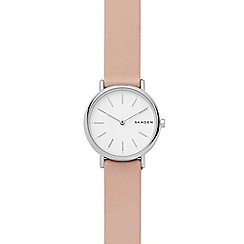 Skagen - Ladies pink 'Signature' leather strap watch