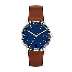 Skagen - Men's brown leather strap watch