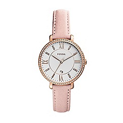 Fossil - Ladies rose gold leather strap watch