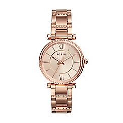 Fossil - Ladies rose gold bracelet dress watch
