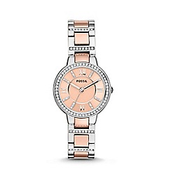 Fossil - Ladies rose gold and silver bracelet watch