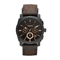 Fossil - Men's brown leather strap watch