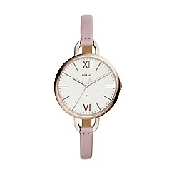 Fossil - Ladies pink leather strap watch