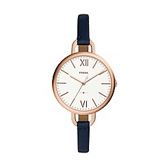 Fossil - Ladies blue leather strap watch