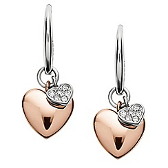 Fossil - Rose gold and silver double heart drop earrings