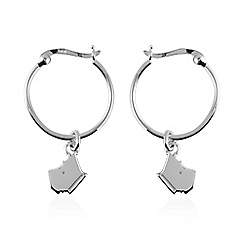 Radley - Silver 'Love Radley' dog charm hoop earrings