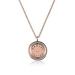 Radley - Rose gold 'Love Radley' crystal disc pendant necklace
