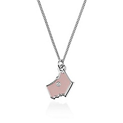 Radley - Pink and silver 'Love Radley' crystal dog pendant necklace