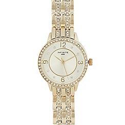 Infinite - Womens' gold diamante analogue watch