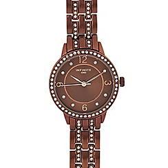 Infinite - Womens' bronze diamante analogue watch